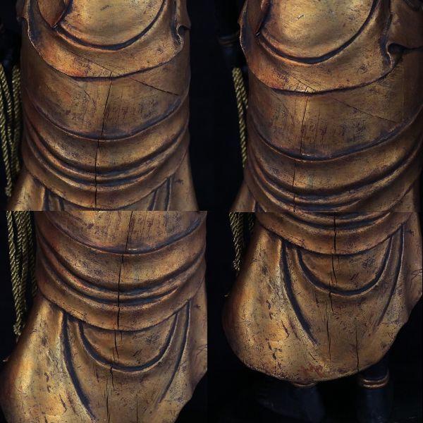 不動明王立像 時代仏教美術 楠木精密彫刻 置物 総高100cm 旧家初出【黒檀堂】_画像8