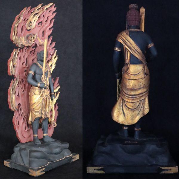 不動明王立像 時代仏教美術 楠木精密彫刻 置物 総高100cm 旧家初出【黒檀堂】_画像3