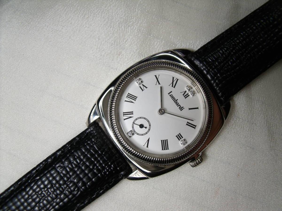 美品★メンズ腕時計 純銀(925)Lombardi 天然5ポイントダイア QZ スモールセコンド付き★