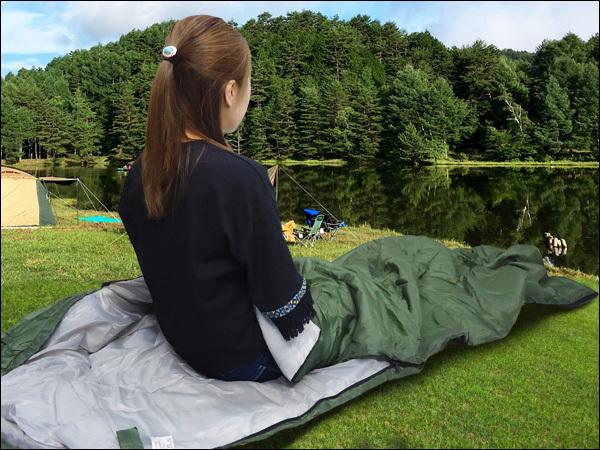 寝袋 緑H 封筒型 シュラフ 175×75cm 収納袋付き/23_画像6