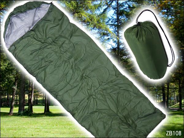 寝袋 緑H 封筒型 シュラフ 175×75cm 収納袋付き/23_画像1