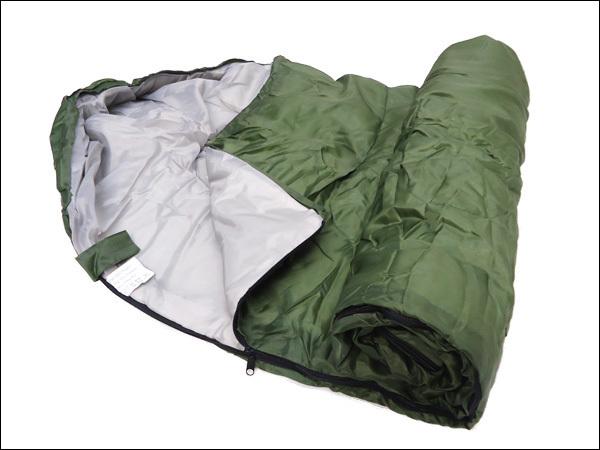 寝袋 緑H 封筒型 シュラフ 175×75cm 収納袋付き/23_画像2