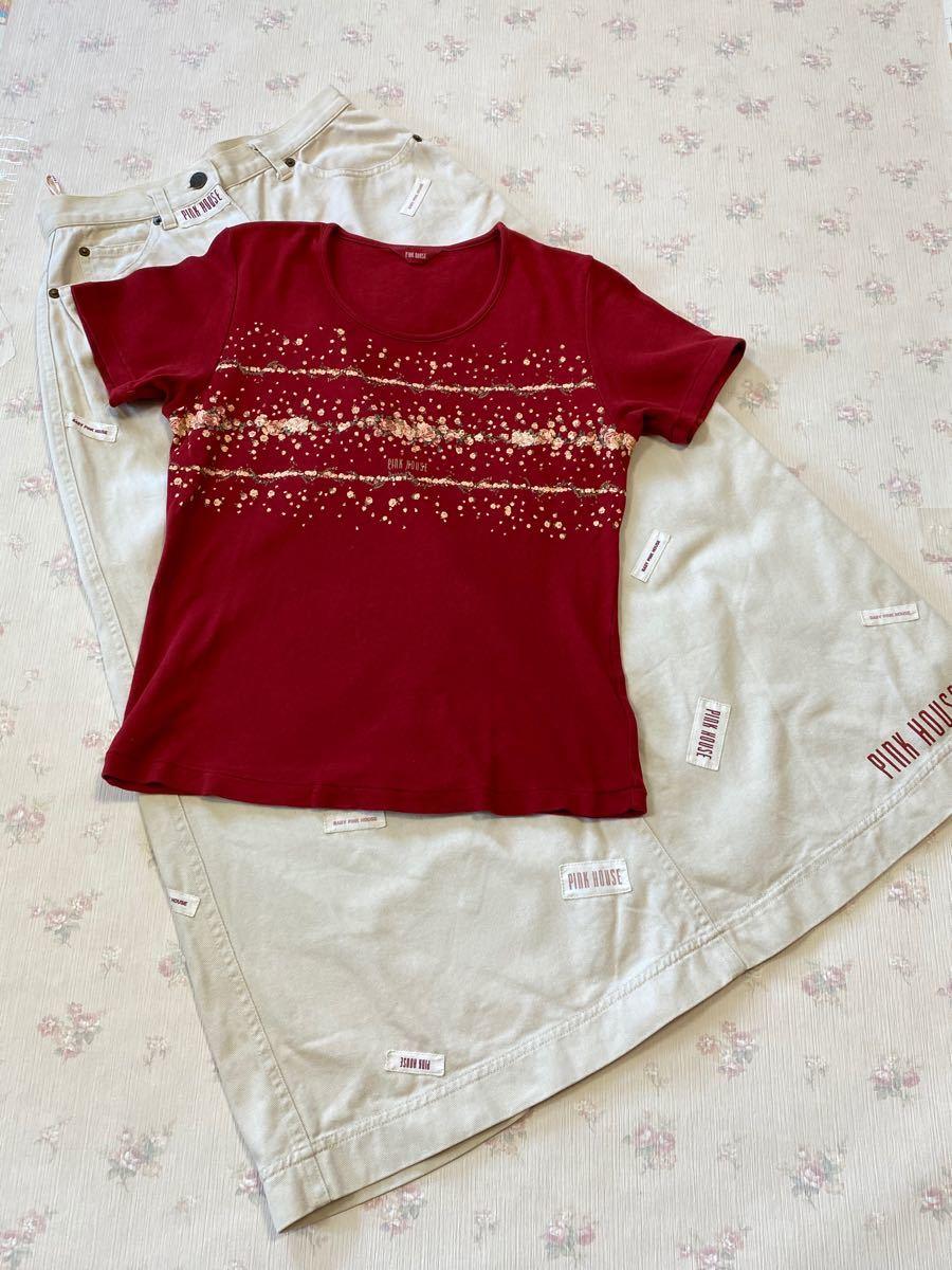 ピンクハウス 薔薇シリーズ 赤の半袖でTシャツのみ
