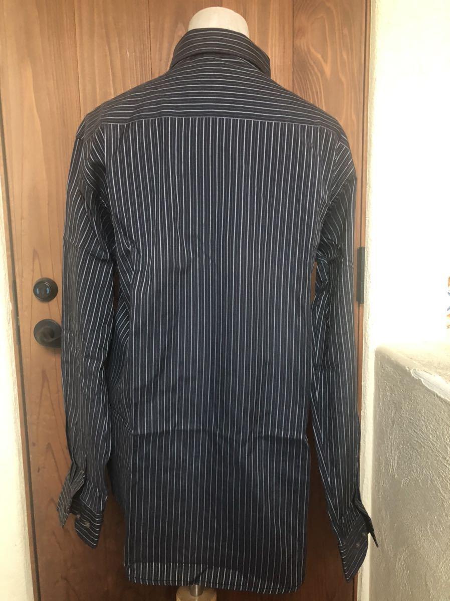 1445 新品 メンズ SHERLOCK HOLMES ストライプ ブラックxホワイト 長袖シャツ  Mサイズ_画像2