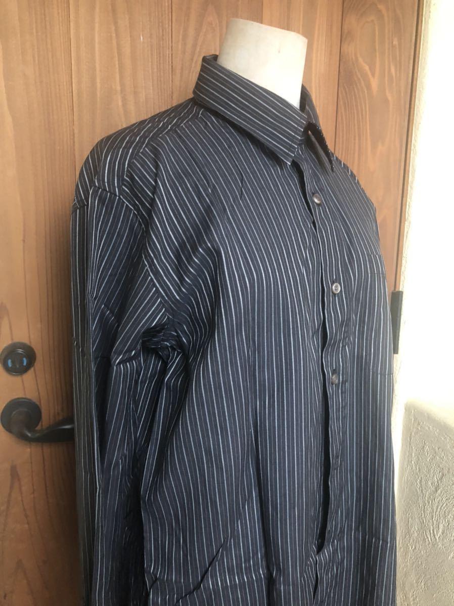 1445 新品 メンズ SHERLOCK HOLMES ストライプ ブラックxホワイト 長袖シャツ  Mサイズ_画像3