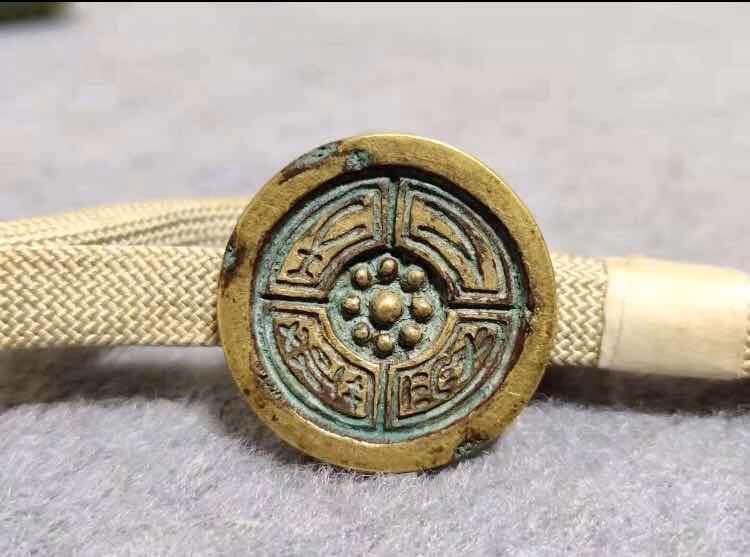 希少 時代和装小物 象山作 瓦当紋帯留 紐付け アンティーク 直径約2.78cm 和装小物 時代物 帯留め