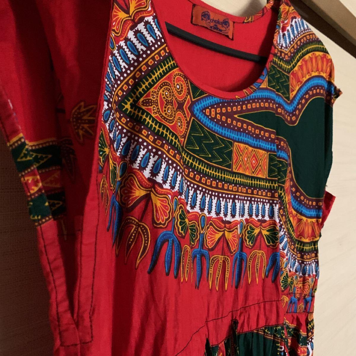 民族スタイル 赤いワンピース ロングワンピース インド製