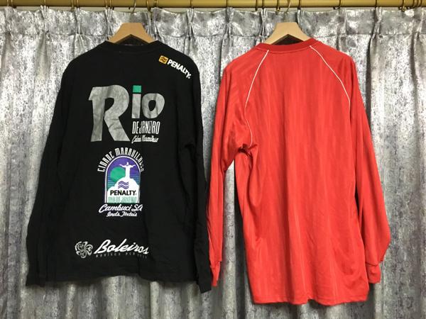 ペナルティ PENALTY ユニフォーム ロンT シャツ サッカー フットサル S~M L 赤 黒 2枚セット 長袖 ゲームシャツ プラシャツ Tシャツ_画像2
