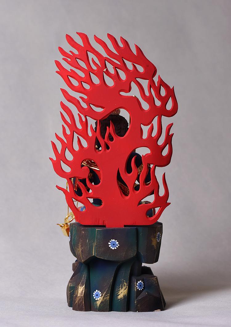 極上珍品 仏教美術 唐密仏像 不動明王像 24K金箔 椴木精彫 木彫仏像 _画像2