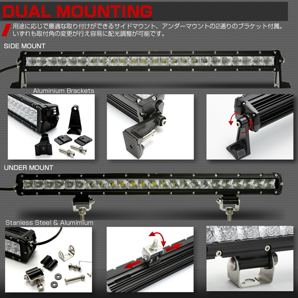 「LEDライトバー 28インチ 120W BRシリーズ 30度スポット&60度ワイド コンボビームパターン ワークライト 作業灯 IP67 12V/24V対応 P-452」の画像3