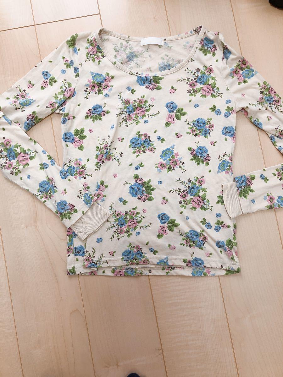 長袖Tシャツ 長袖カットソー花柄ロンティー指穴