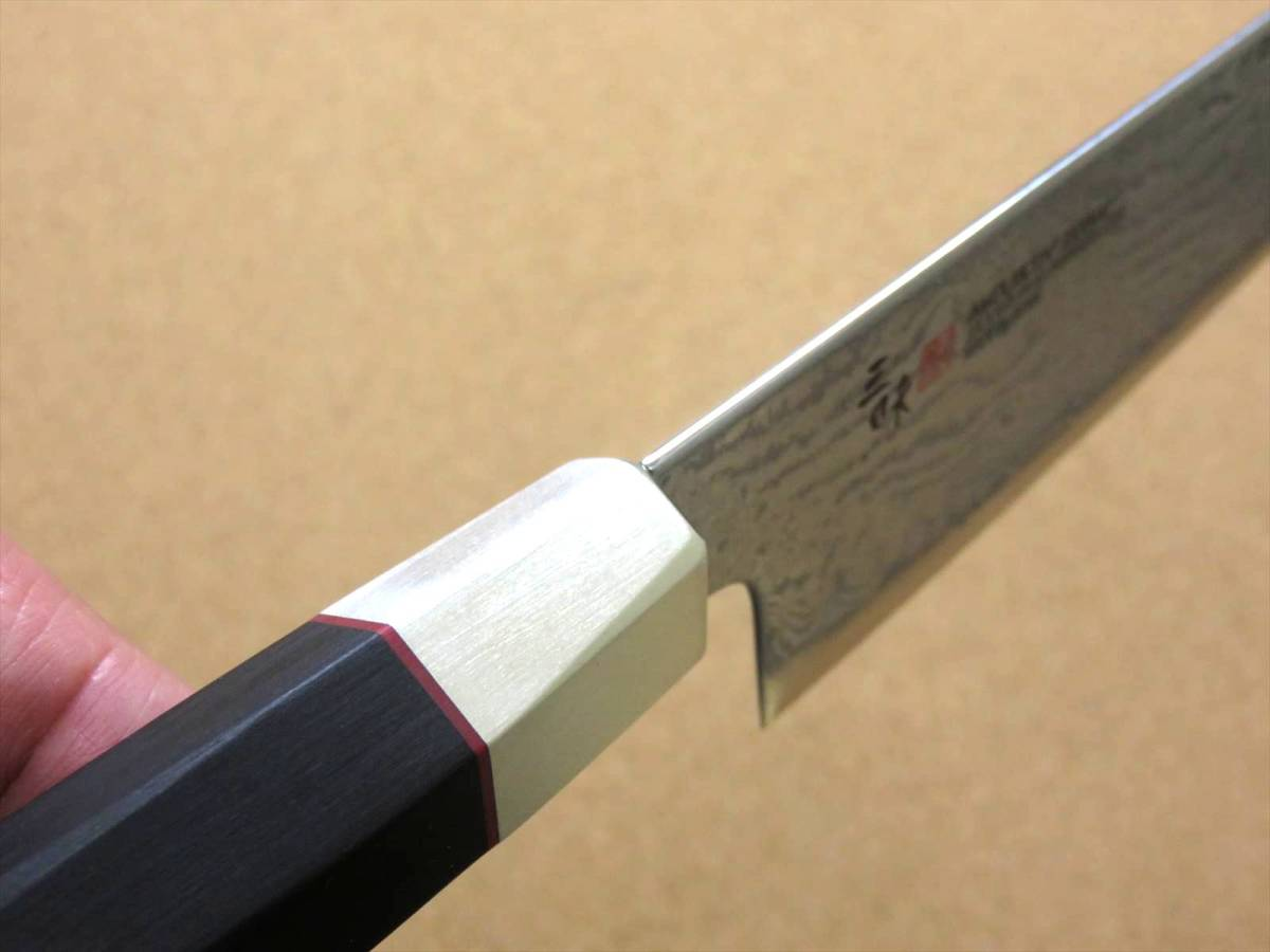 関の刃物 三徳包丁 18cm (180mm) 三昧 ハイブリッド スプラッシュ ダマスカス33層 VG-10 ステンレス 黒合板 両刃万能包丁 文化包丁 日本製_画像8
