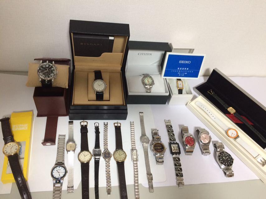 腕時計 20本セット BVLGARI FILA CYMA SWATCH BULOVA SEIKO CITIZEN CASIO 機械式 大量まとめ売り クォーツ 手巻き ,,20個は稼動しています