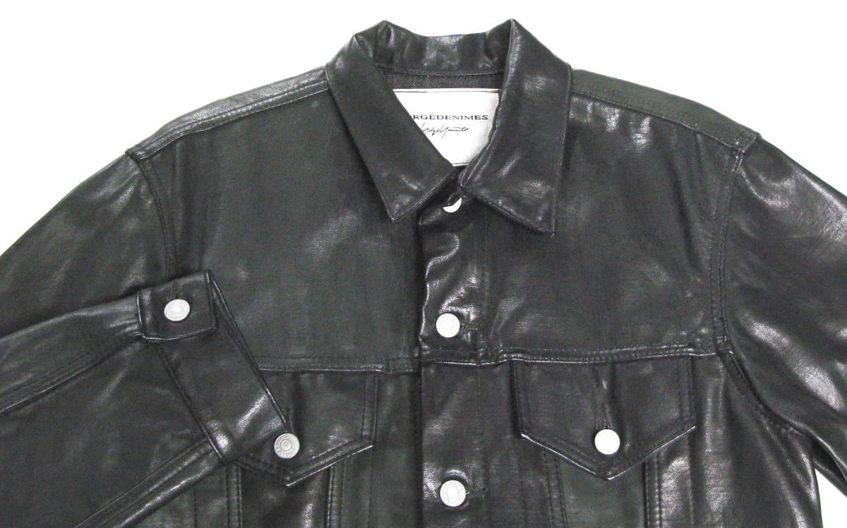 ヨウジ Yohji : ツートンカラー レザー Gジャン ( ワイズ デニム ジャケット 本革 Yohji Yamamoto leather denim jacket_画像3