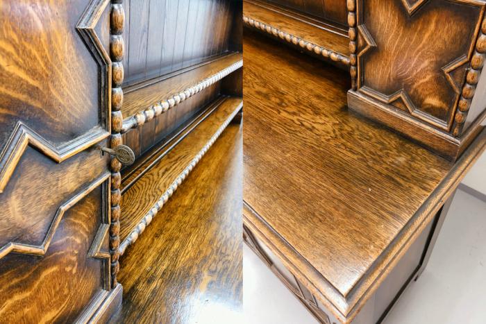 イギリス アンティーク 家具 ドレッサー カップボード 1920年頃 オーク 無垢材 英国 ビンテージ家具 サイドボード 店舗什器 食器棚 262A_画像3
