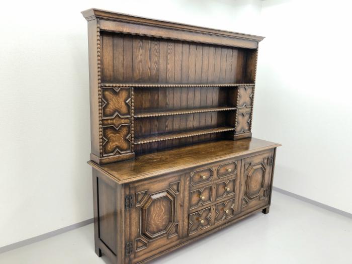 イギリス アンティーク 家具 ドレッサー カップボード 1920年頃 オーク 無垢材 英国 ビンテージ家具 サイドボード 店舗什器 食器棚 262A_画像2