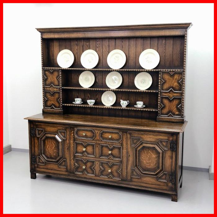 イギリス アンティーク 家具 ドレッサー カップボード 1920年頃 オーク 無垢材 英国 ビンテージ家具 サイドボード 店舗什器 食器棚 262A_画像1