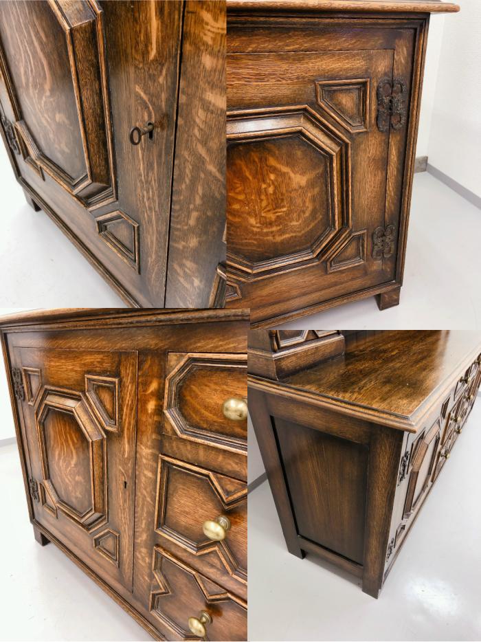 イギリス アンティーク 家具 ドレッサー カップボード 1920年頃 オーク 無垢材 英国 ビンテージ家具 サイドボード 店舗什器 食器棚 262A_画像4