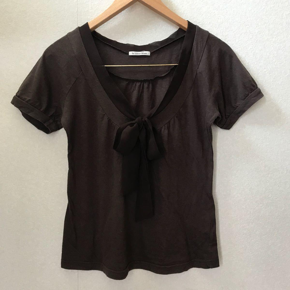 トップス 半袖Tシャツ シフォンリボン パフスリーブ