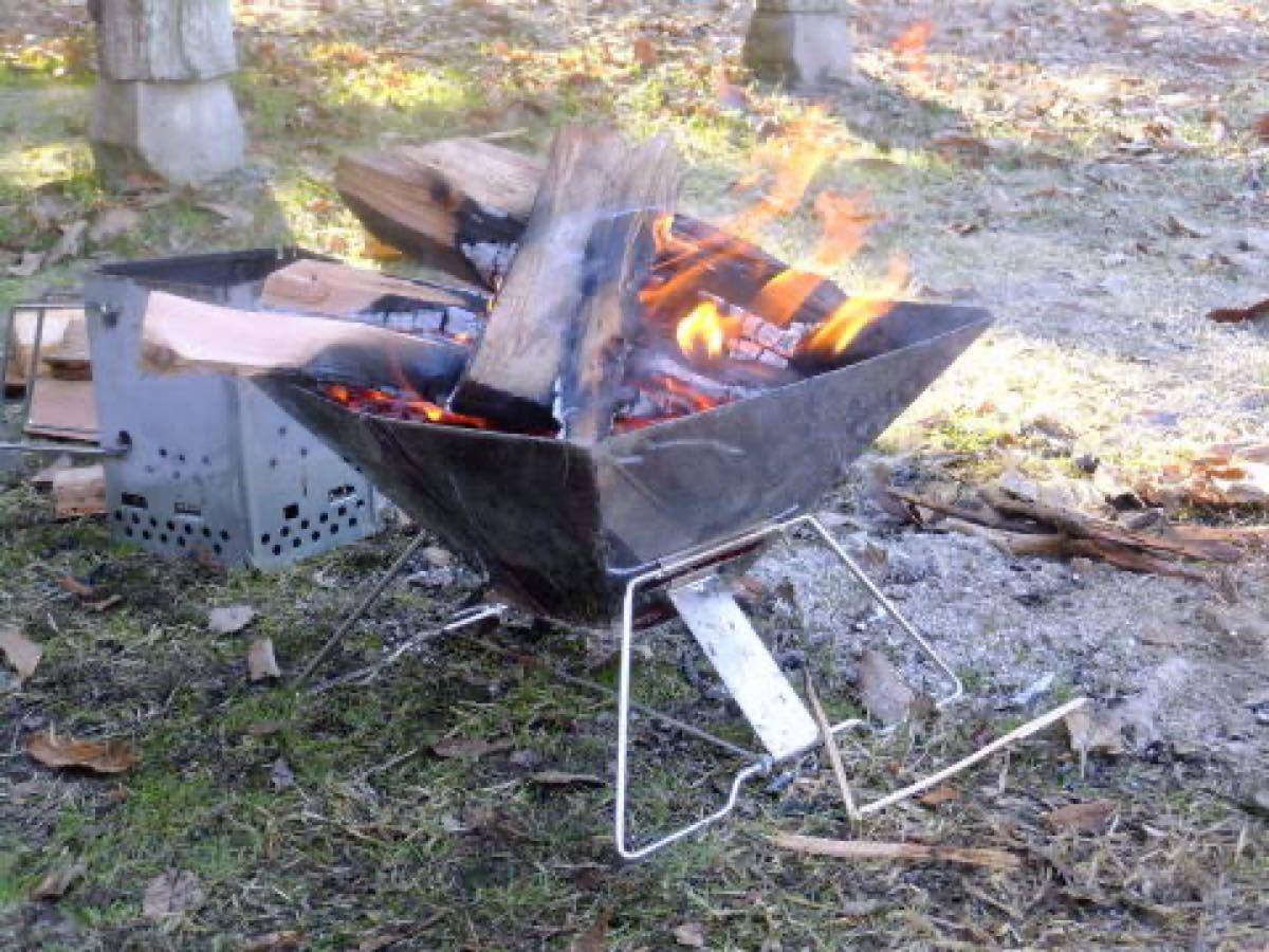 バーベキューコンロ BBQグリル フャイヤーグリル 焚き火台 ケース付 送料込み