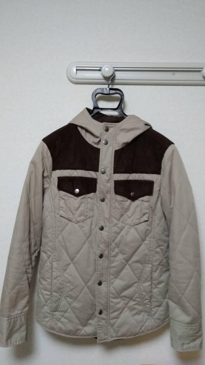 ☆ikka(イッカ)男性用フード付長袖ジャケット Mサイズ ベージュ/ブラウン☆_画像1