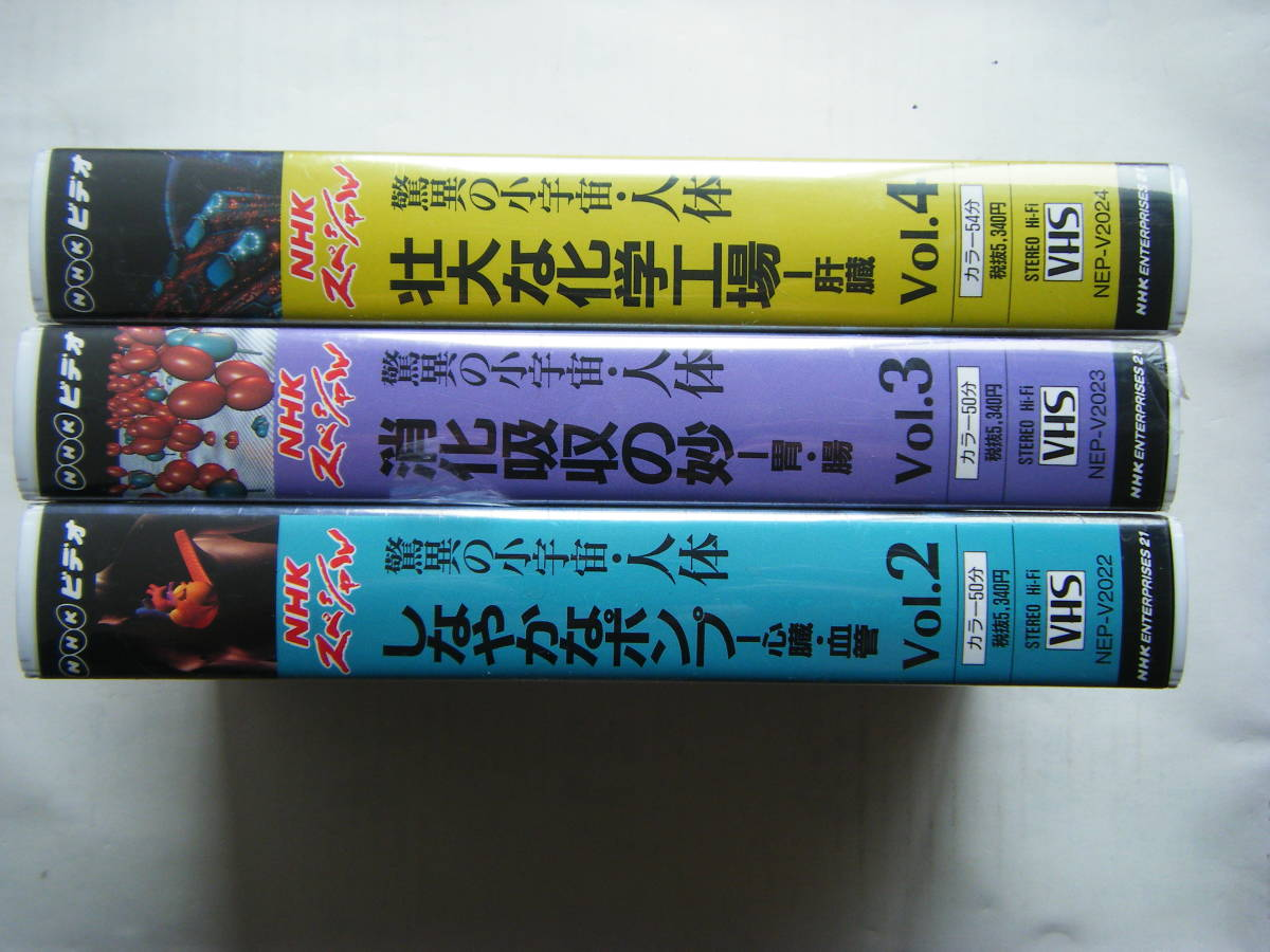 即決未開封?VHSビデオ3本 NHKスペシャル 驚異の小宇宙・人体「Vol.2 しなやかなポンプ」「Vol.3 消化吸収の妙」「Vol.4 壮大な化学工場」_画像3