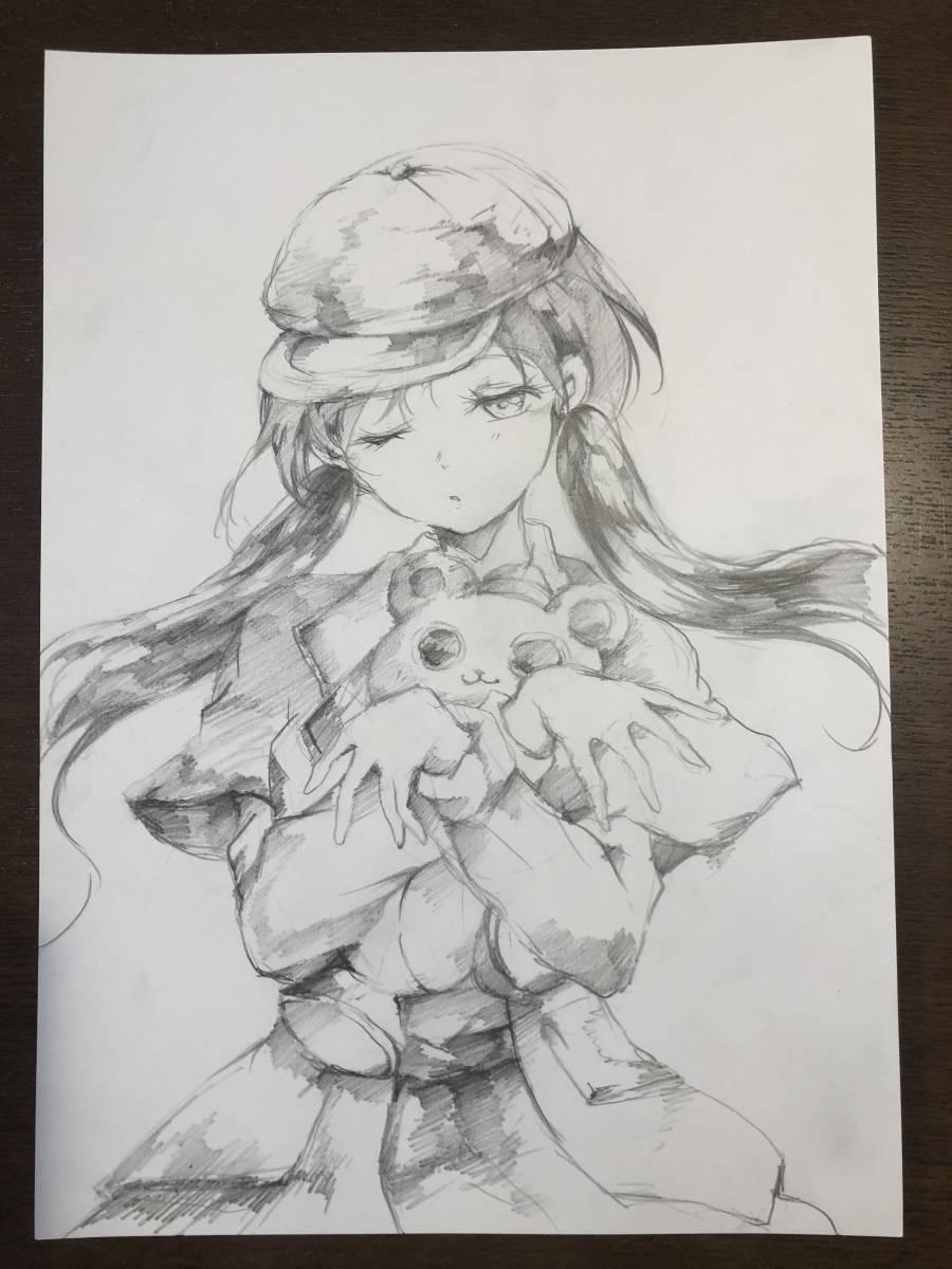 手描きイラスト オリジナル 少女探偵の憂鬱 鉛筆画_画像1