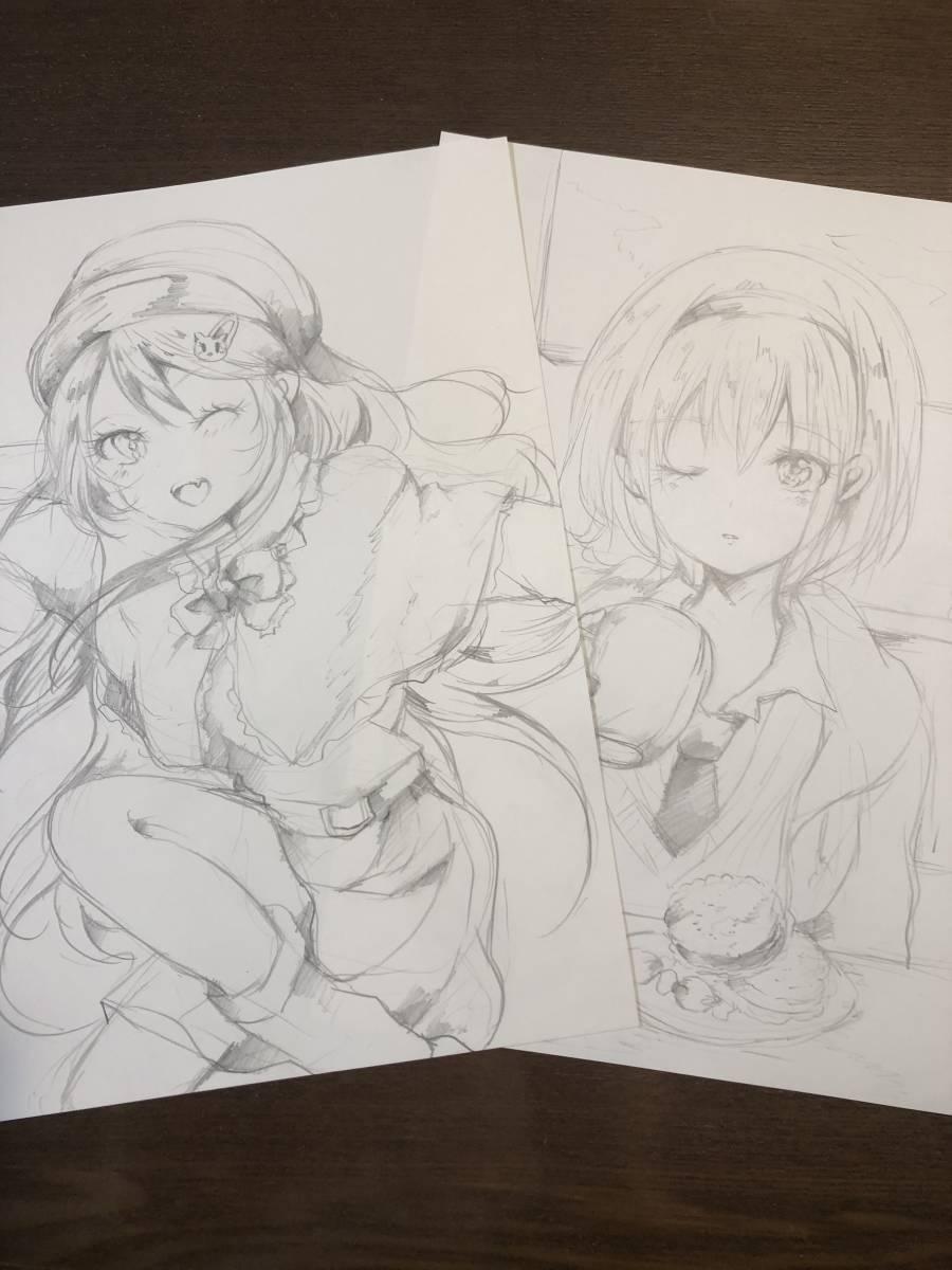 手描きイラスト オリジナル 少女探偵の憂鬱 鉛筆画_画像3