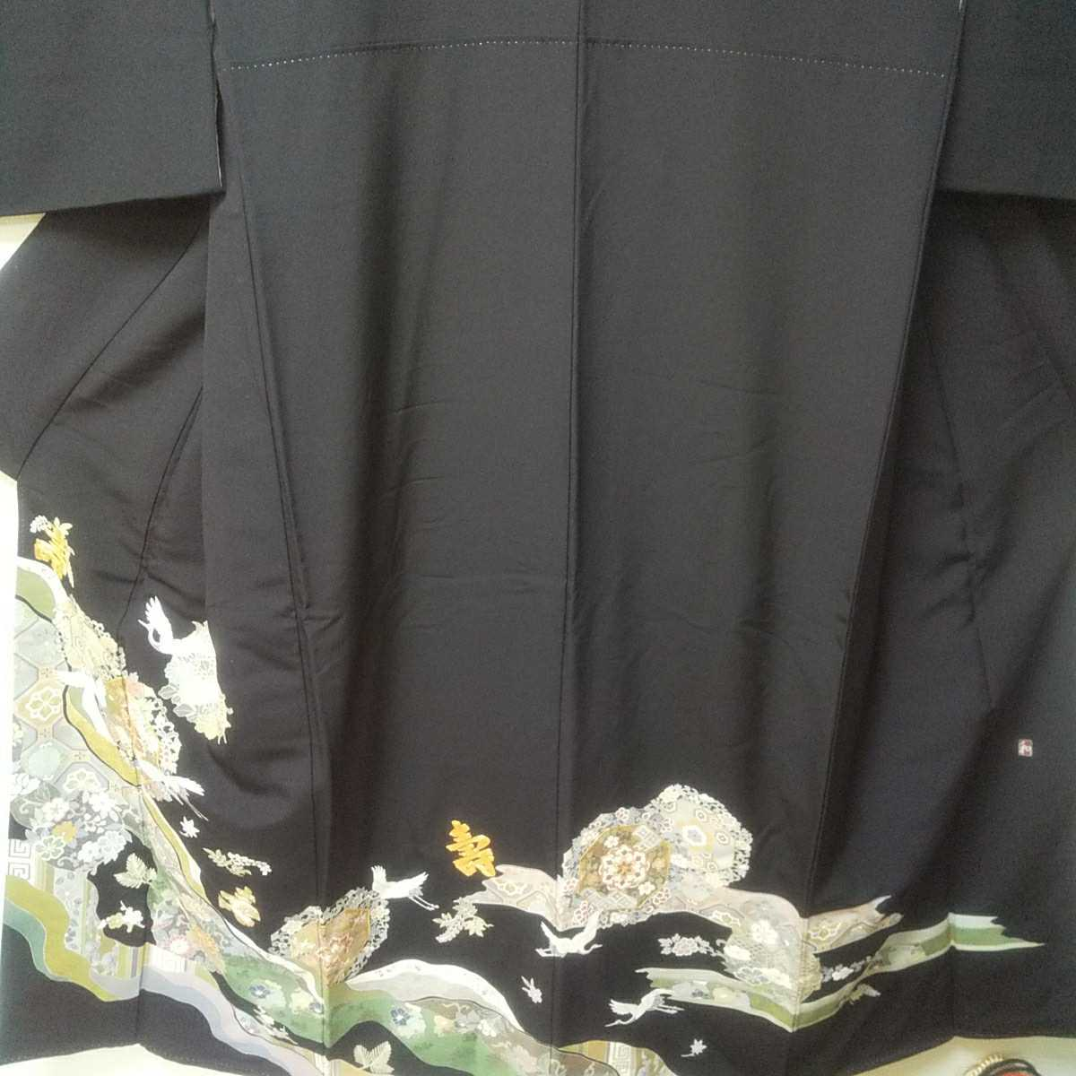 黒留袖 江戸褄 金駒刺繍 手描き 作家物_画像2