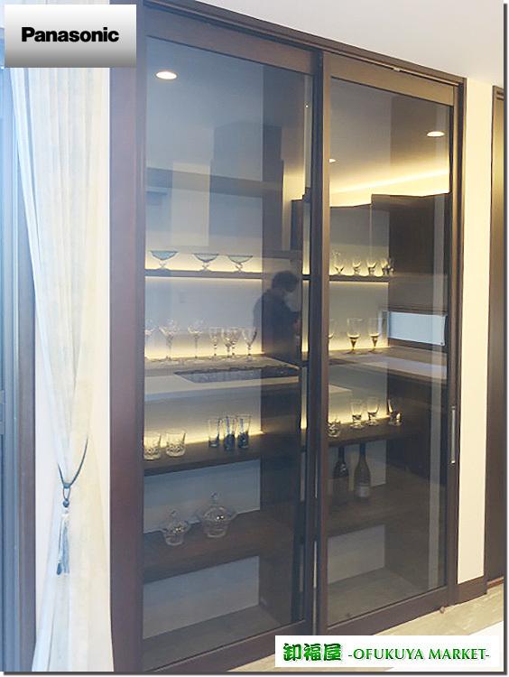 22124■Panasonic 室内用 ガラススライドドア 2枚組 吊り型 上部レール付 W800×H2550■展示品/取り外し品_画像1