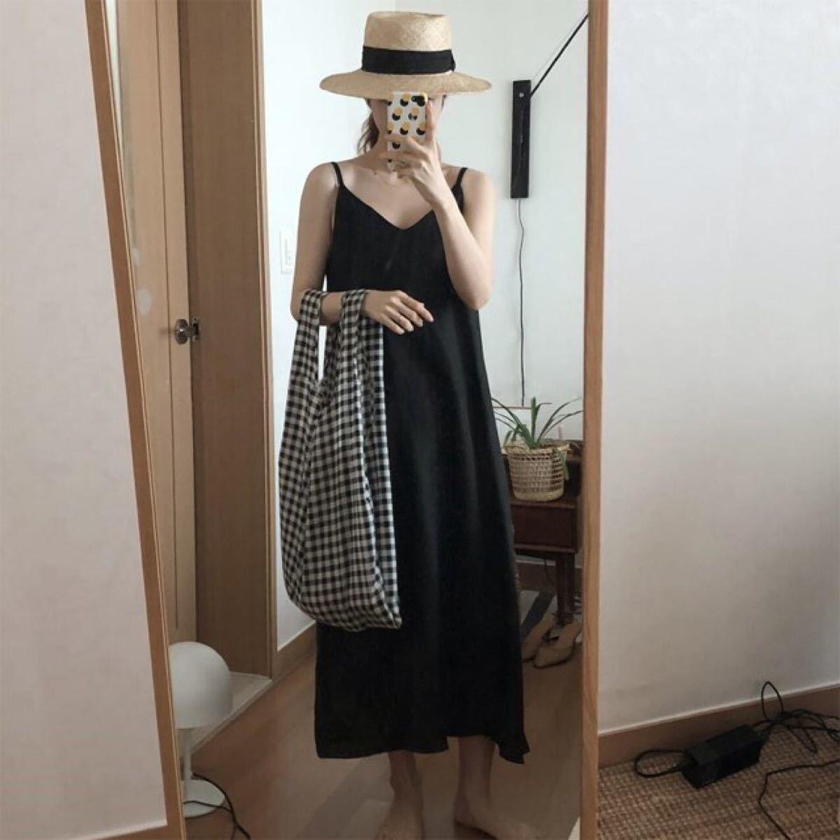 新品☆キャミワンピース リネン ロングスカート セクシー 黒 ブルー ベージュ