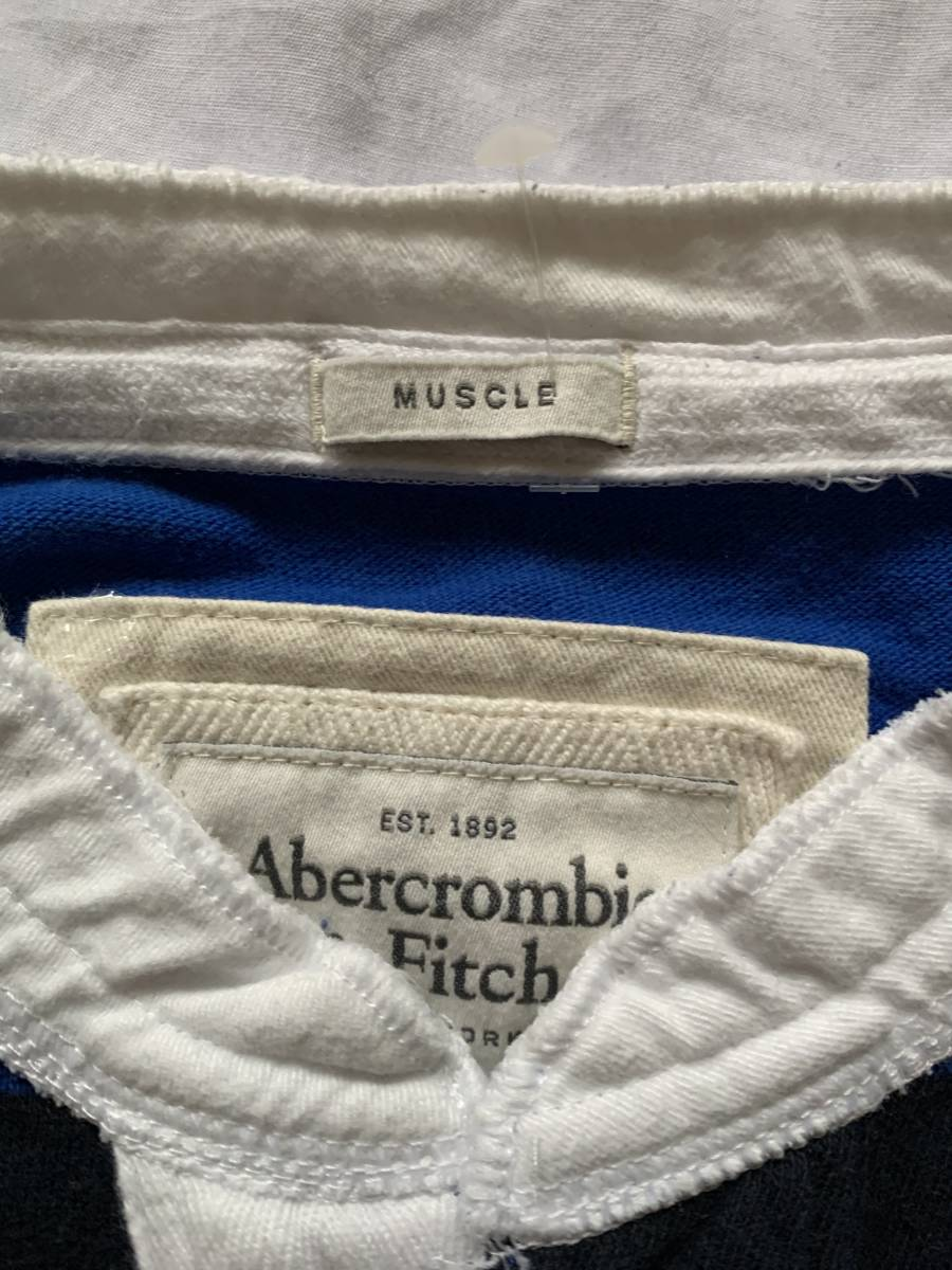 Abercrombie & Fitch ボーダー柄ラガーシャツ  ポロシャツ 襟なし L 保管品