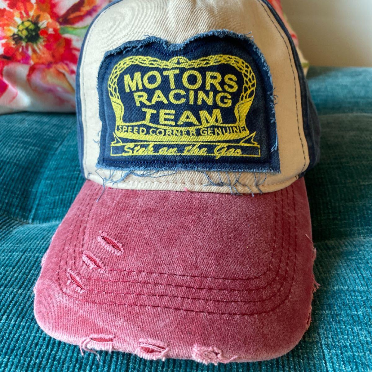 キャップ メンズキャップ 帽子 USED加工 レディース  赤 白 紺