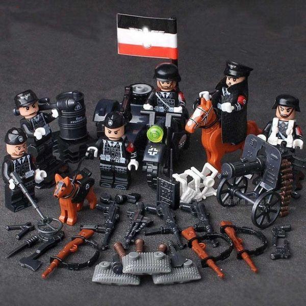 【新品・即決!!】激レア LEGO レゴ MOC 互換 WW2 第二次世界大戦 ナチス ドイツ軍 陸軍 アーミー 指揮官 ミニフィグ 6体セット兵器付 D245_画像1