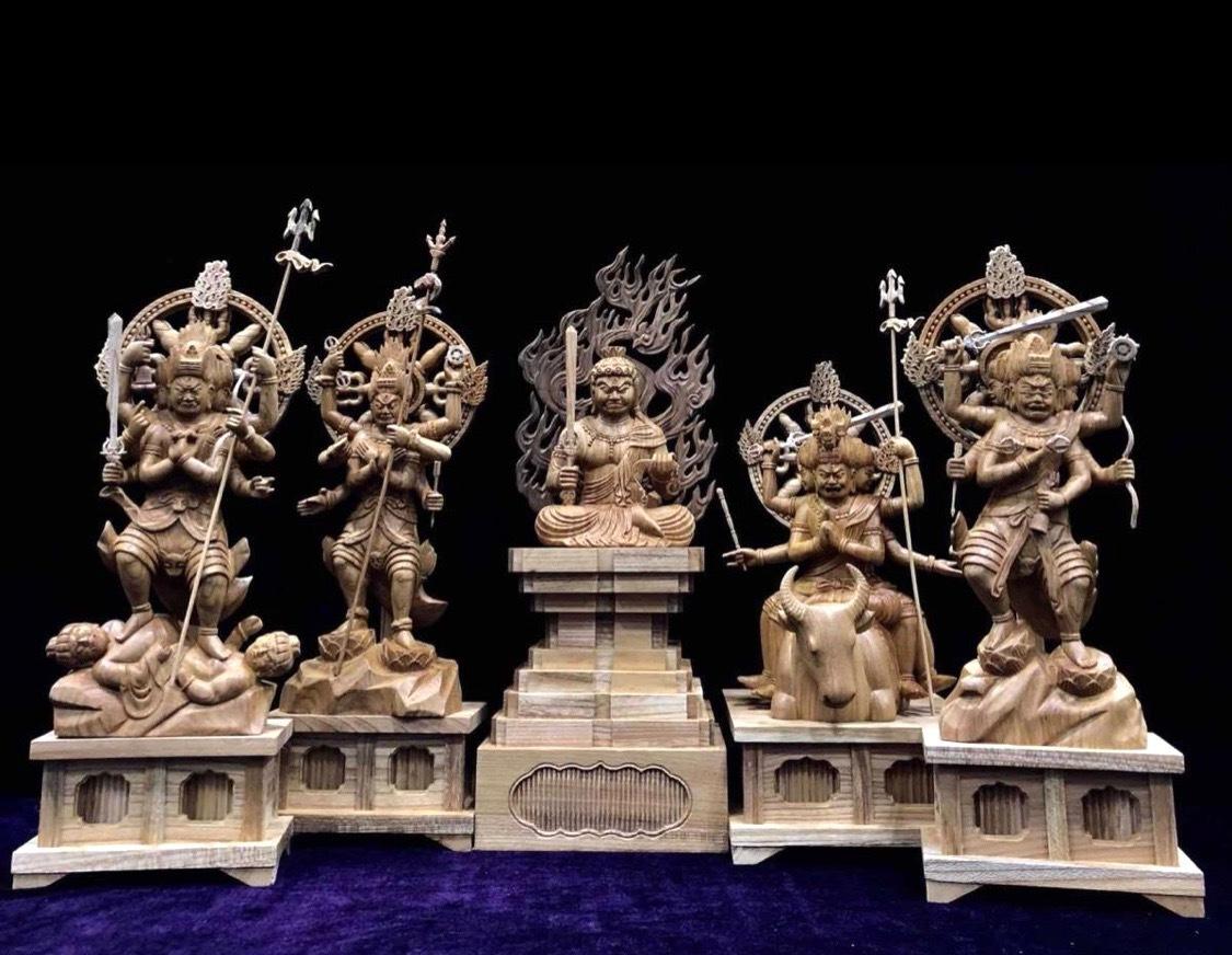 井波彫刻 最高級品 仏教工芸品 迫力満点 総ケヤキ材 精密細工 木彫仏像 仏師手仕上げ品 五大明王像一式