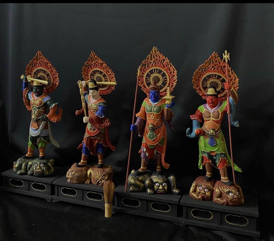 珍品 最高級 大型高58cm 仏教工芸品 木彫仏像  彩金 彩繪 金箔 仏師手工精彫り 木彫仏像 極上品 四天王像一式