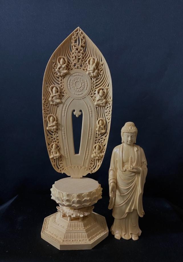最高級品 高45cm 総檜材 仏教工芸品 木彫仏教 精密彫刻 極上品 仏師で仕上げ品 薬師如来立像_画像8
