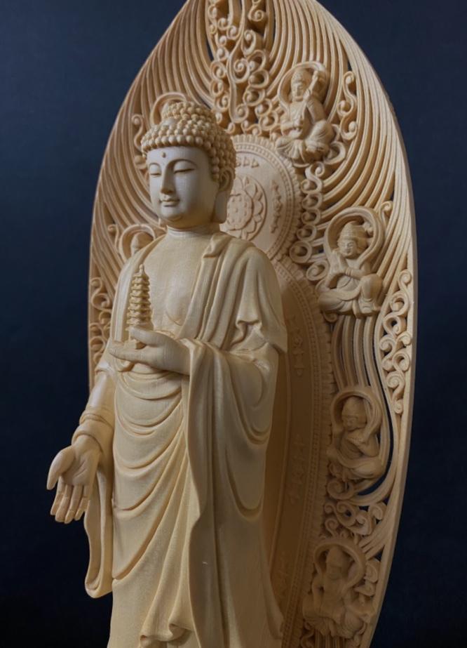 最高級品 高45cm 総檜材 仏教工芸品 木彫仏教 精密彫刻 極上品 仏師で仕上げ品 薬師如来立像_画像5