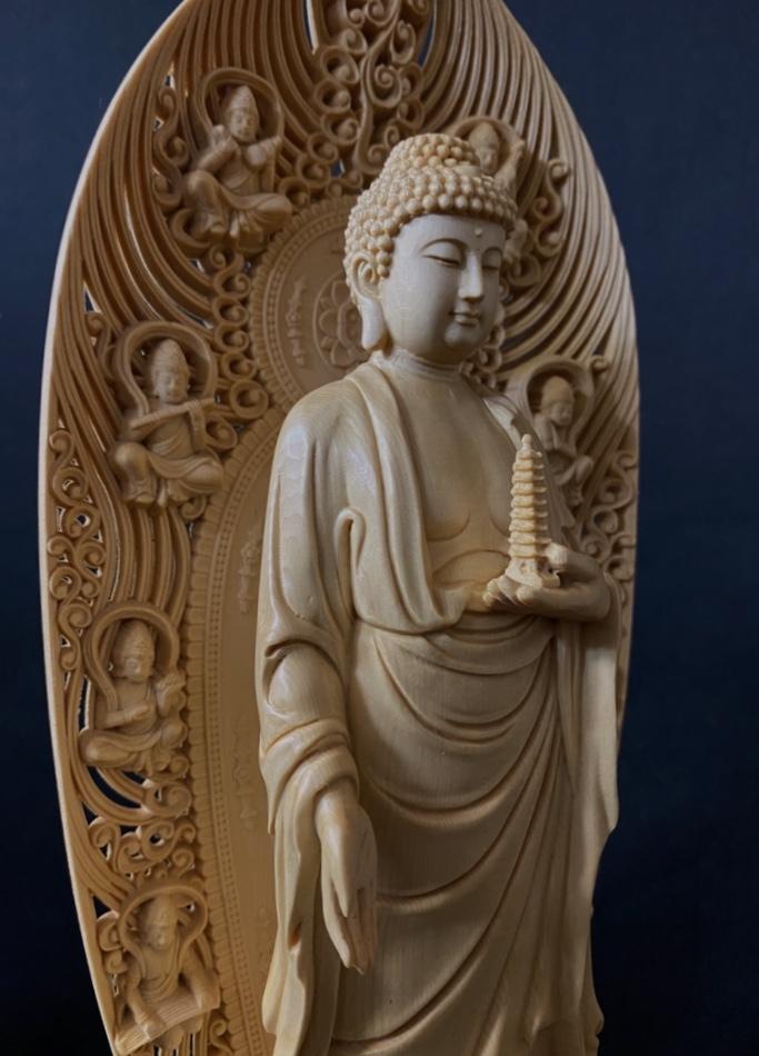 最高級品 高45cm 総檜材 仏教工芸品 木彫仏教 精密彫刻 極上品 仏師で仕上げ品 薬師如来立像_画像4