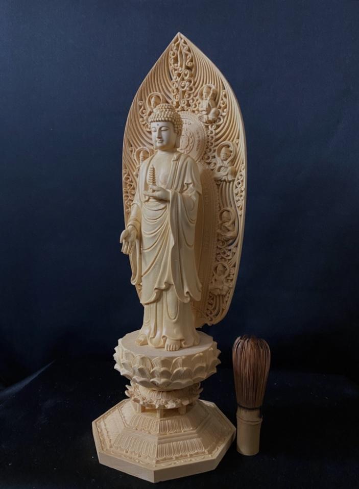 最高級品 高45cm 総檜材 仏教工芸品 木彫仏教 精密彫刻 極上品 仏師で仕上げ品 薬師如来立像_画像7