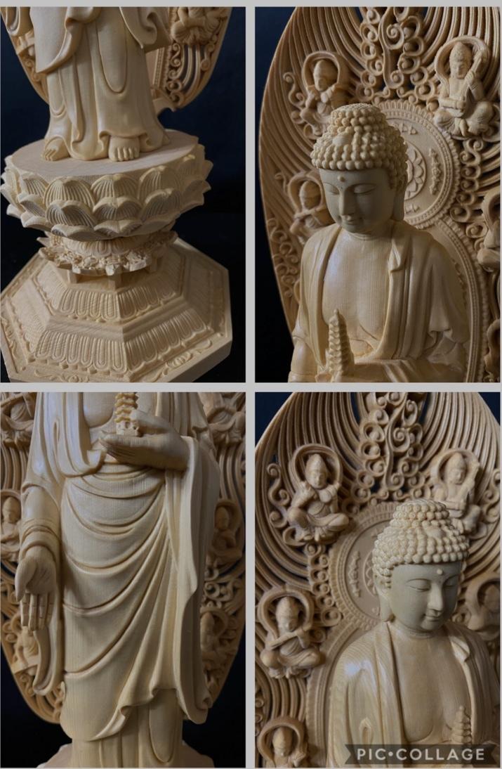 最高級品 高45cm 総檜材 仏教工芸品 木彫仏教 精密彫刻 極上品 仏師で仕上げ品 薬師如来立像_画像9