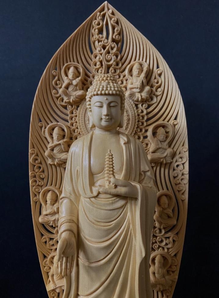 最高級品 高45cm 総檜材 仏教工芸品 木彫仏教 精密彫刻 極上品 仏師で仕上げ品 薬師如来立像_画像1