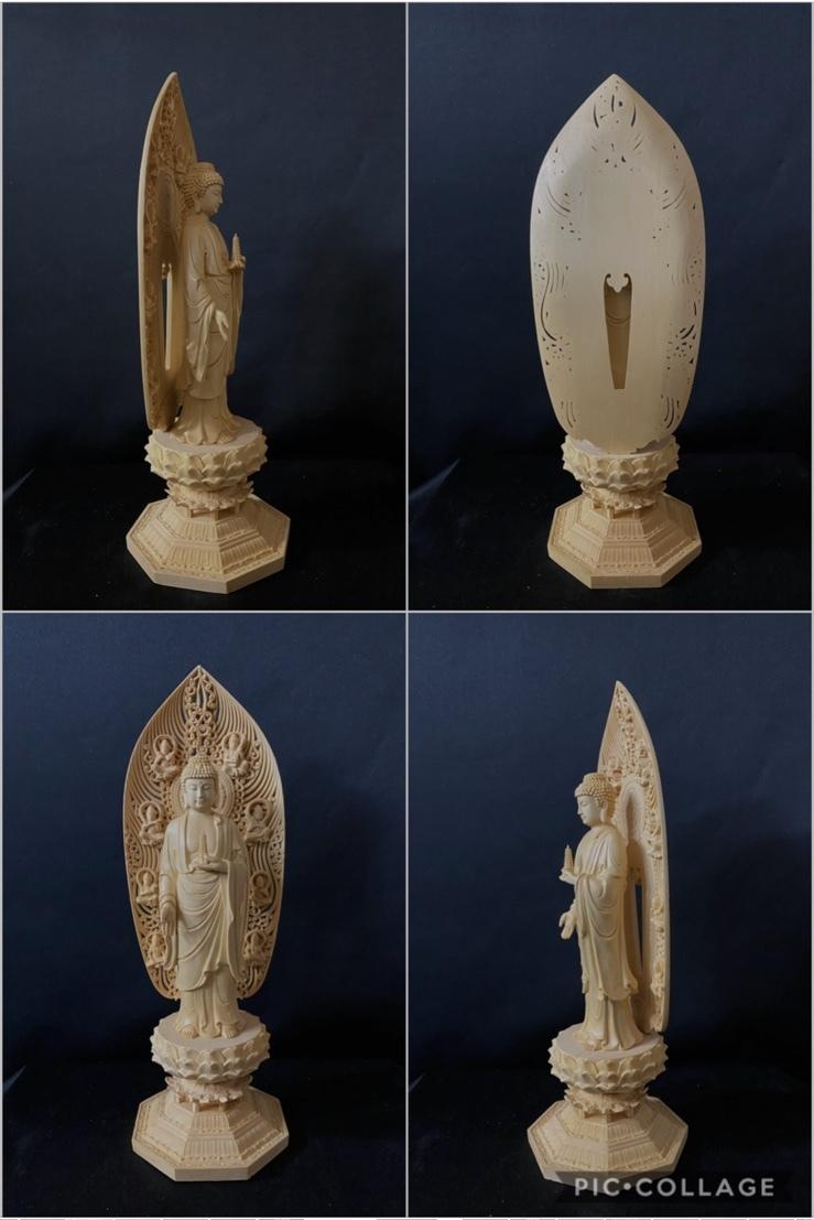 最高級品 高45cm 総檜材 仏教工芸品 木彫仏教 精密彫刻 極上品 仏師で仕上げ品 薬師如来立像_画像10