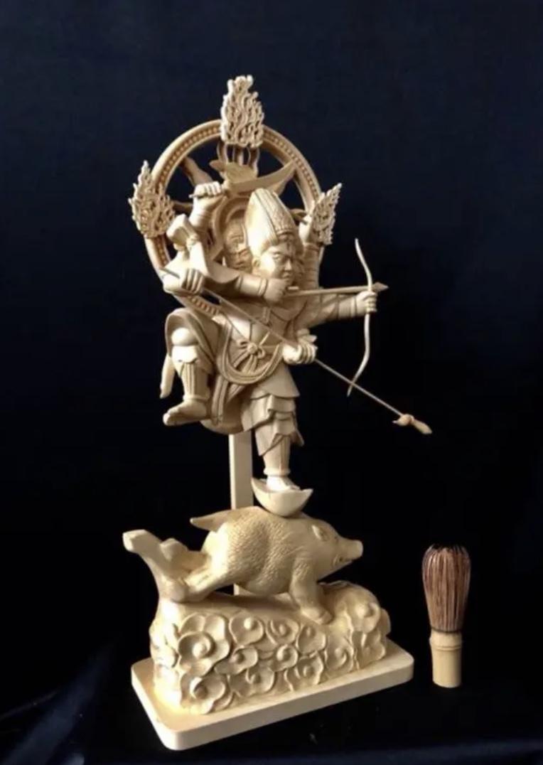 珍品 一点限り 大型50cm 総檜材 仏教工芸品 木彫仏教 精密彫刻 極上品 仏師で仕上げ品 武者 摩利支天立像_画像6