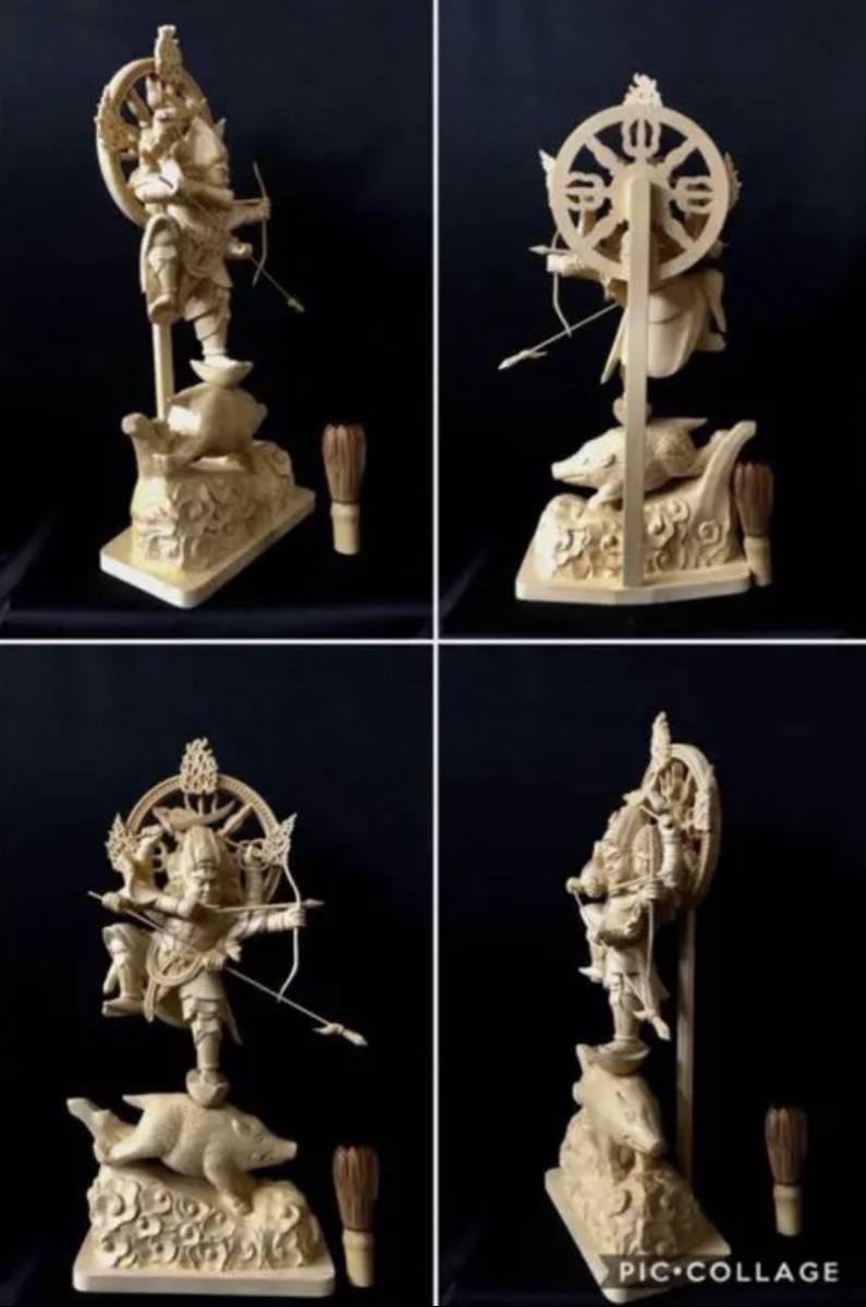 珍品 一点限り 大型50cm 総檜材 仏教工芸品 木彫仏教 精密彫刻 極上品 仏師で仕上げ品 武者 摩利支天立像_画像10