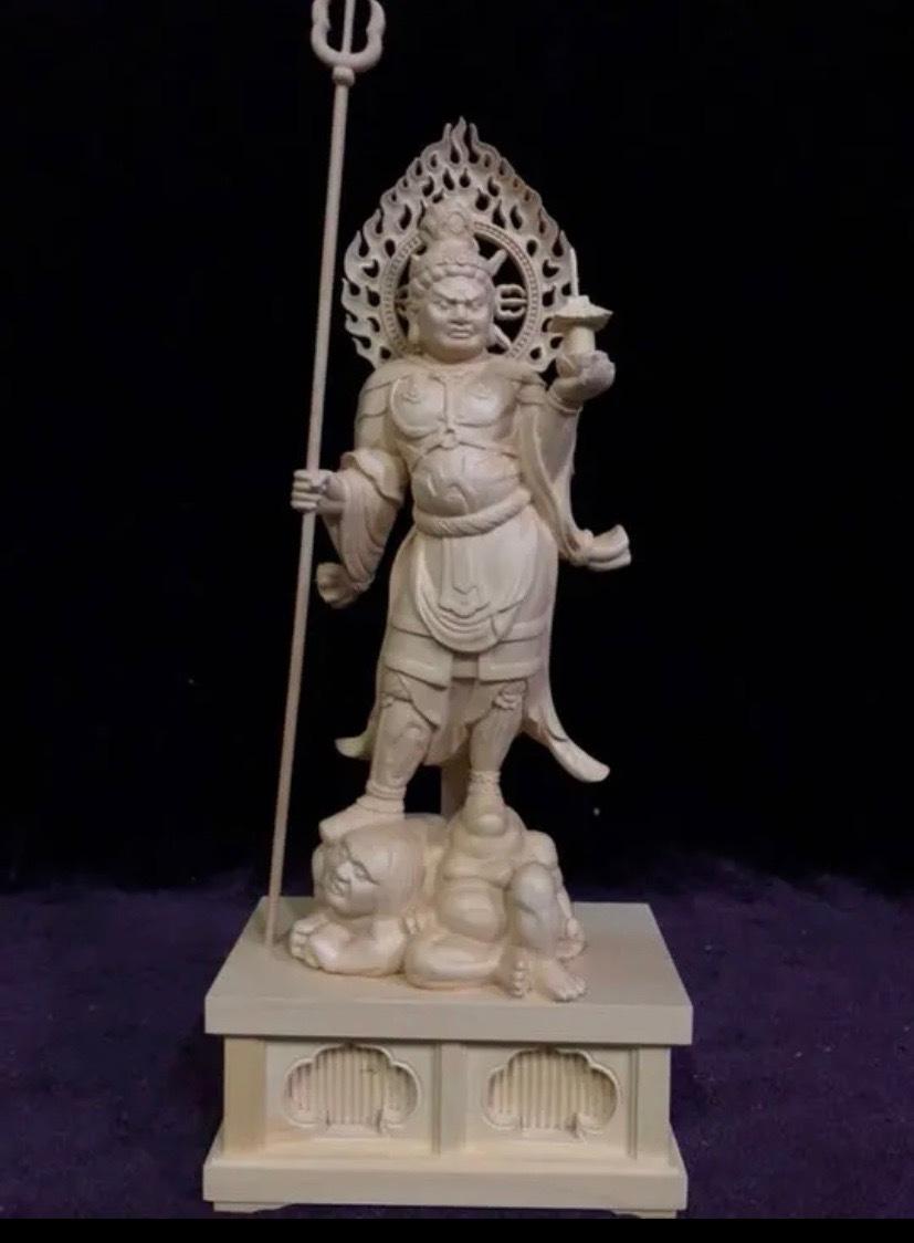 最高級 仏教工芸品 総柘植材 精密彫刻 極上品 木彫仏教 仏師で仕上げ品 四天王立像一式_画像8