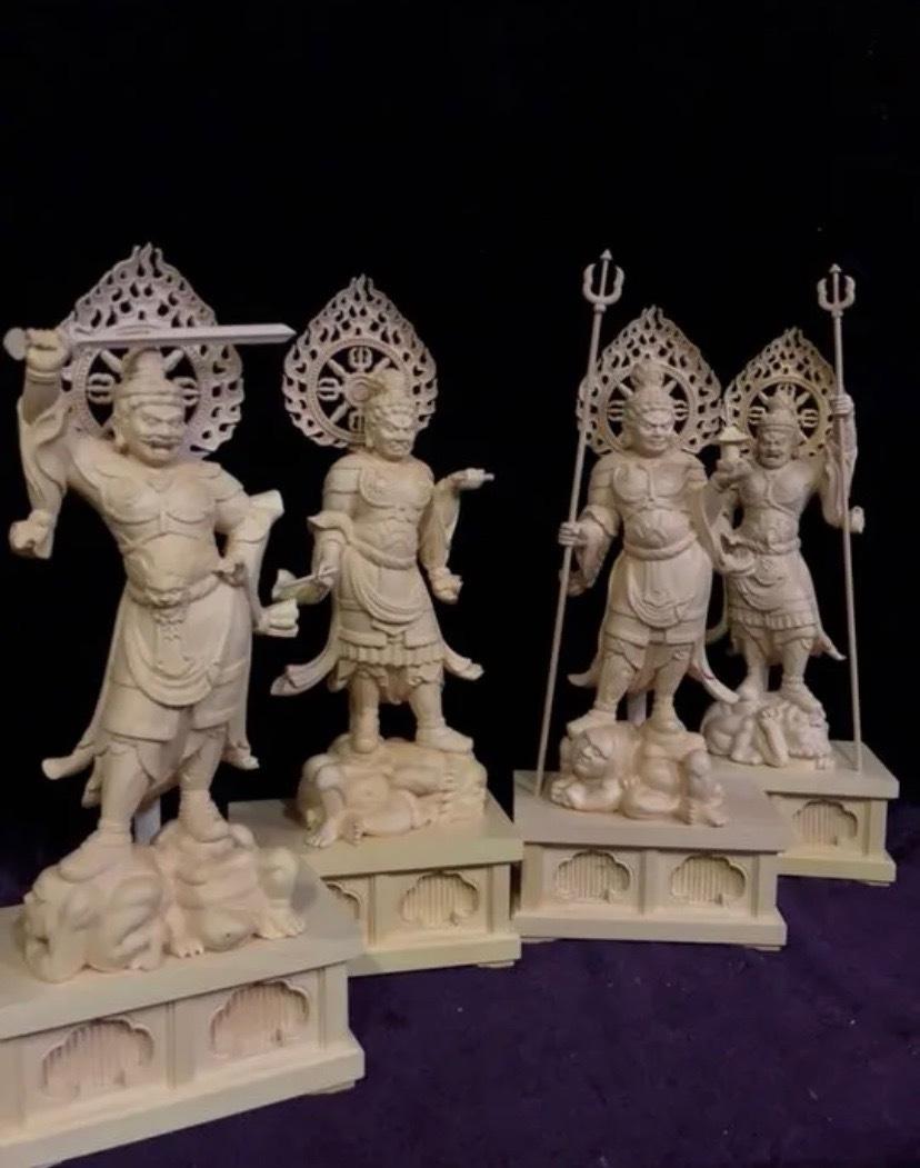 最高級 仏教工芸品 総柘植材 精密彫刻 極上品 木彫仏教 仏師で仕上げ品 四天王立像一式_画像4