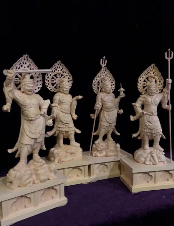 最高級 仏教工芸品 総柘植材 精密彫刻 極上品 木彫仏教 仏師で仕上げ品 四天王立像一式_画像1