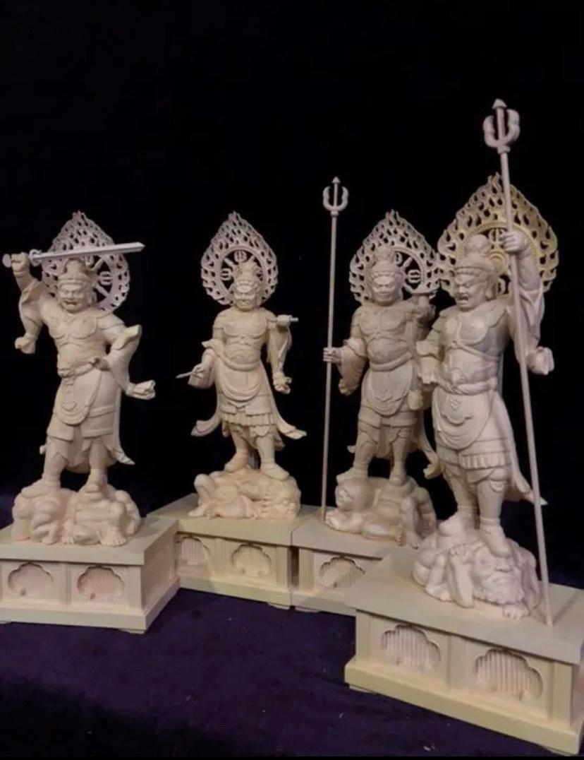 最高級 仏教工芸品 総柘植材 精密彫刻 極上品 木彫仏教 仏師で仕上げ品 四天王立像一式_画像2