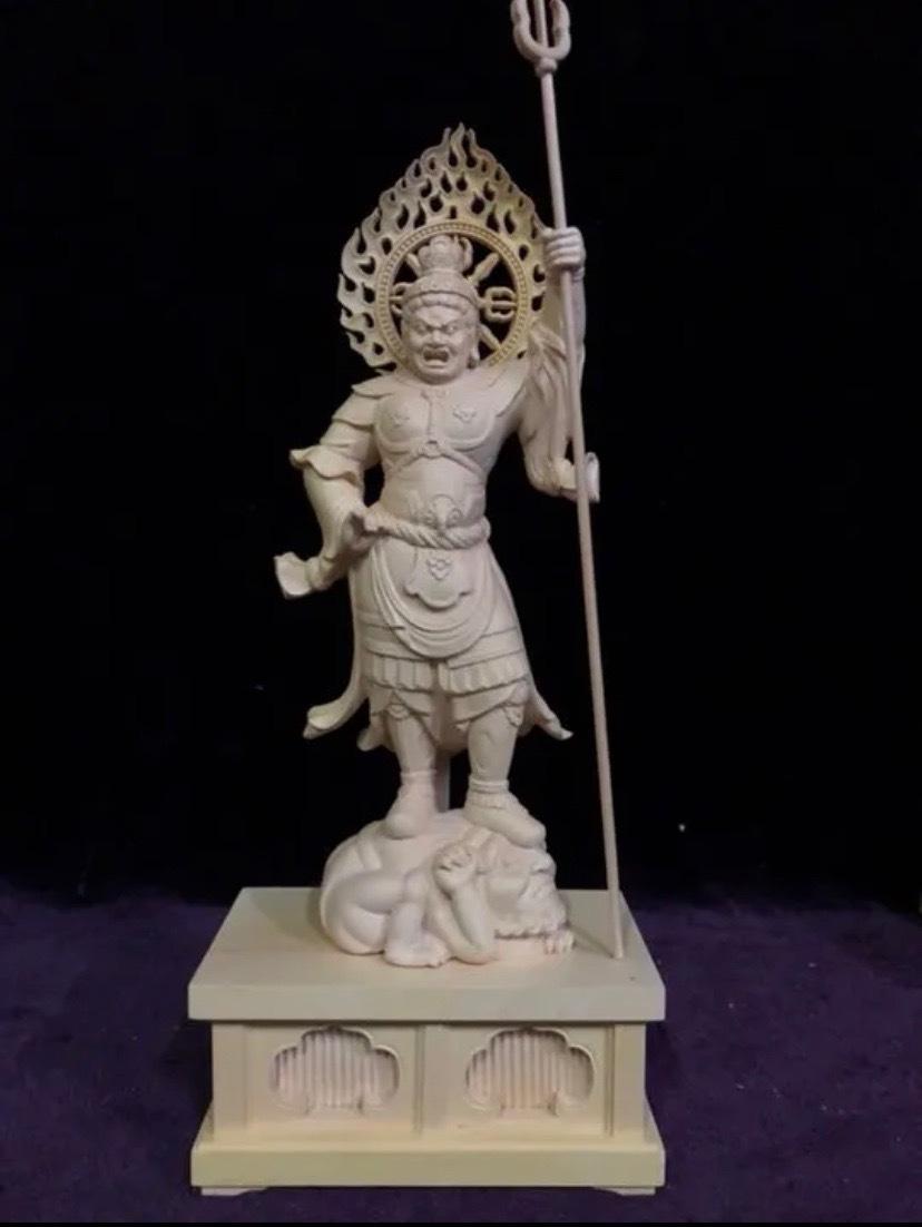 最高級 仏教工芸品 総柘植材 精密彫刻 極上品 木彫仏教 仏師で仕上げ品 四天王立像一式_画像9